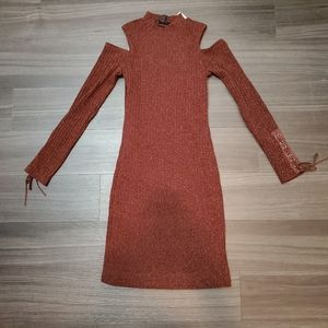 Jessica Simpson Brown Cold Shoulder Sweater Dress